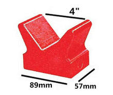 "Load image into Gallery viewer, Bow Stop 4"" Red Poly V Shapes Block Bow Stop 100x57mm Base 5548"