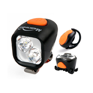 Magic Shine 2000 Lumen Front Light + Taillight with with Wireless Remote IPX4 plus Garmin Type Helmet Mount