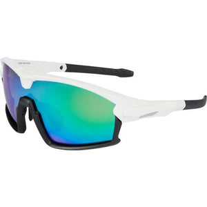 Madison Code Breaker Glasses  Gloss White / Matt Black Frame / Green Mirror Lens