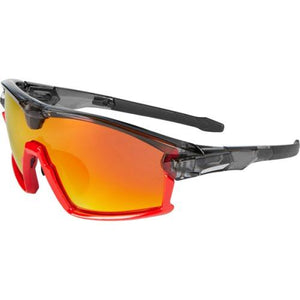 Madison Code Breaker Glasses Gloss Smoke Crystal / Gloss Red Frame, Fire Mirror Lens