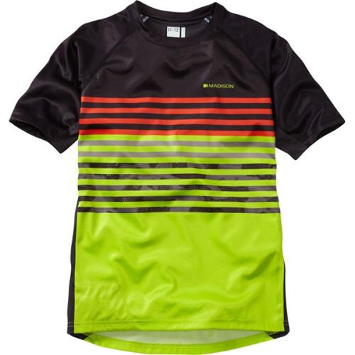 Madison Zen Short Sleeve Youth Black/Krypton Lime Jersey Front
