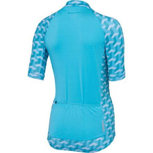 Load image into Gallery viewer, Madison Sportive Womens Short Sleeve Geo Camo Blue Curaco Jersey Rear