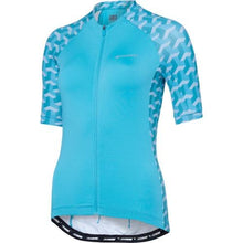 Load image into Gallery viewer, Madison Sportive Womens Short Sleeve Geo Camo Blue Curaco Jersey Front