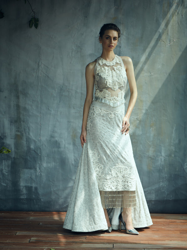 English grey heavy embroidery evening gown