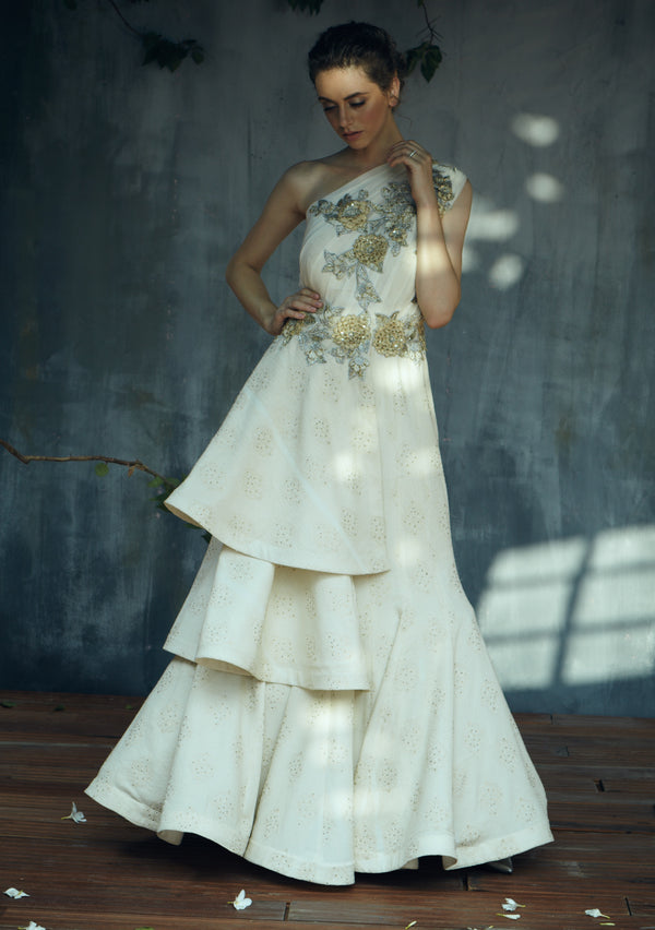 Off white one shoulder layered gown