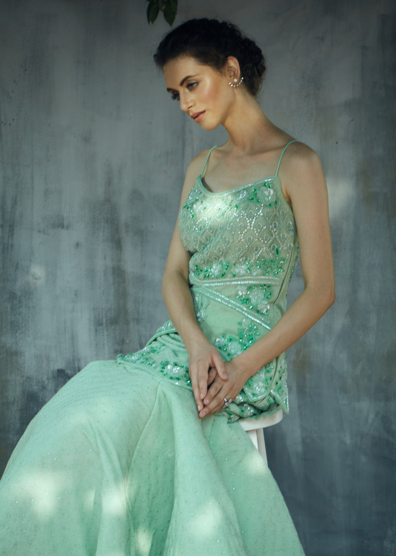 Mint green heavy embroidery cocktail gown