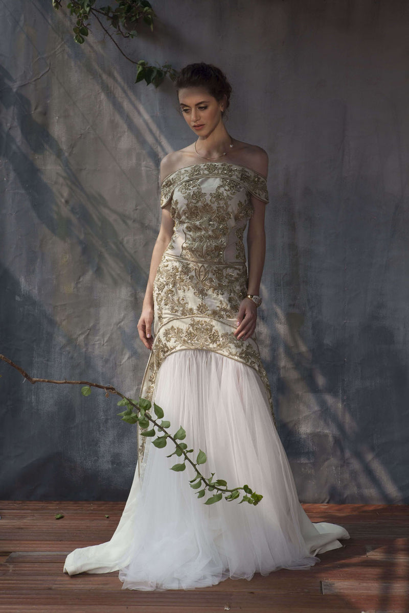Ivory zardozi embroidery off shoulder gown