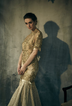 Gold heavy zari embroidery vintage gown