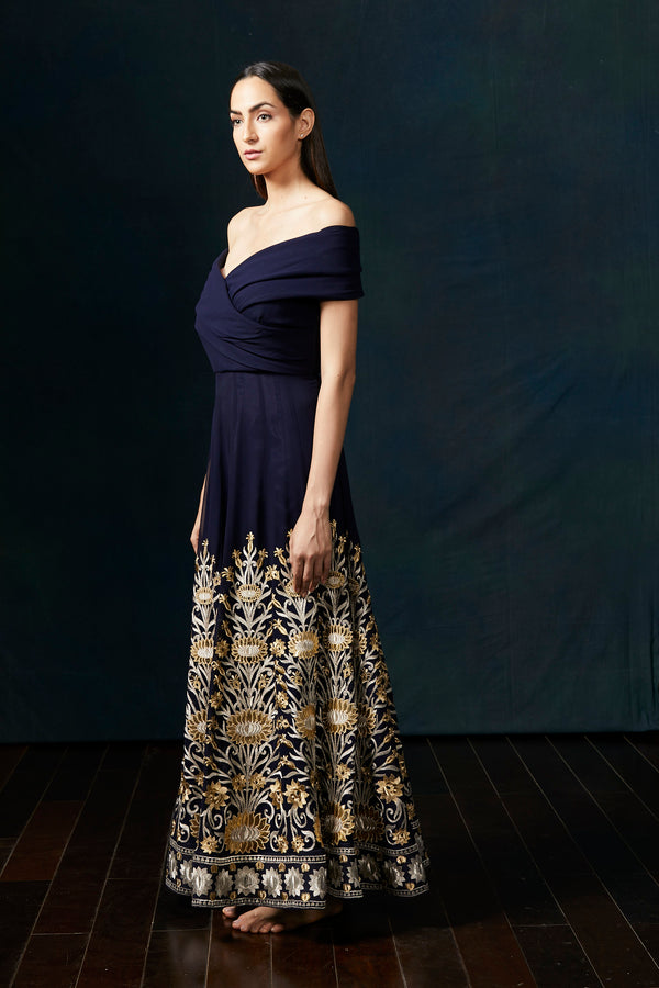 Navy off shoulder lotus gown