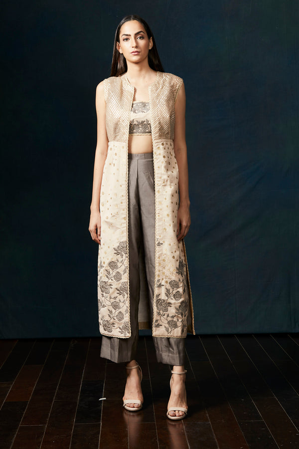 Beige gota & embroidery jacket with crop top & pants
