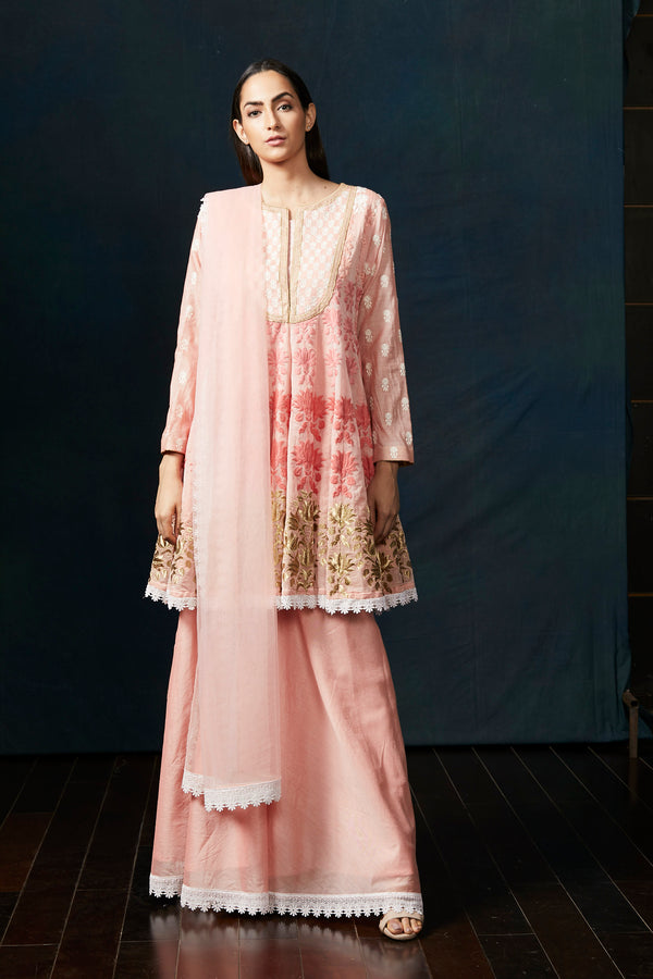 Peach chanderi short anarkali suit