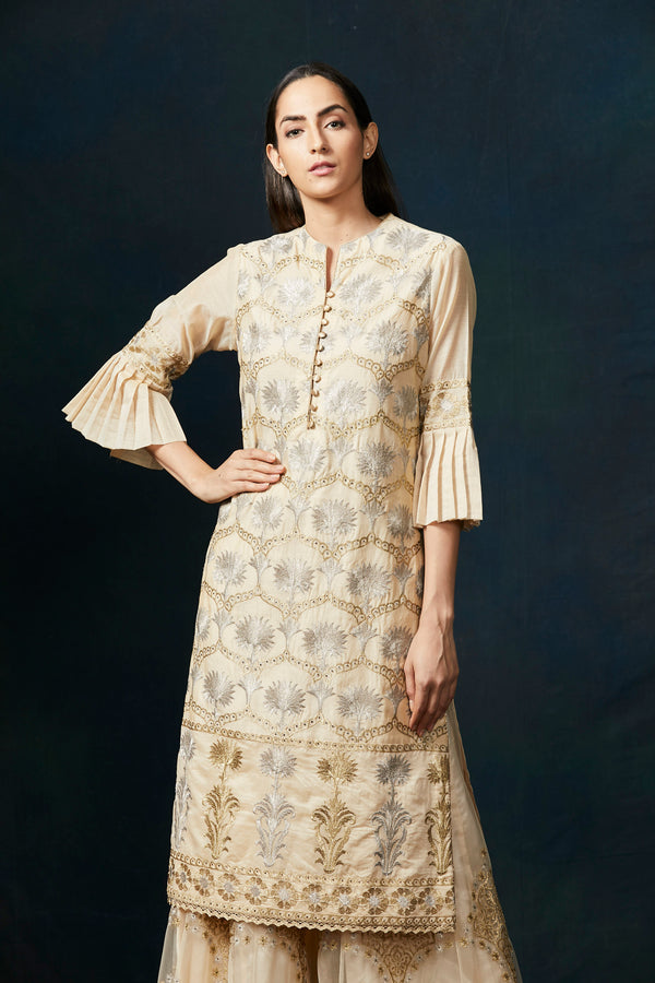 Soft beige thread work sharara suit