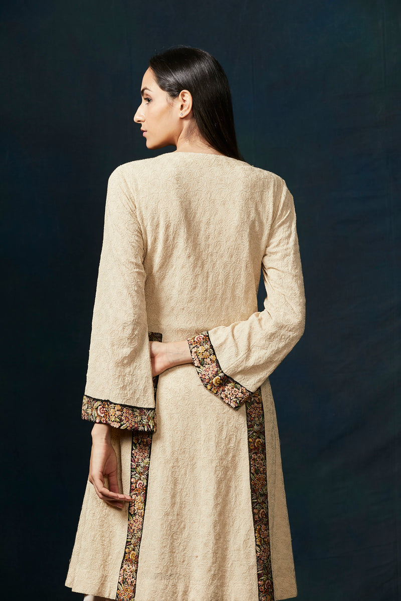 Soft beige kurta with embroidery border