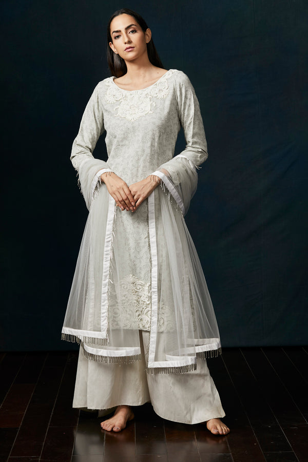 English grey embroidered suit kurta