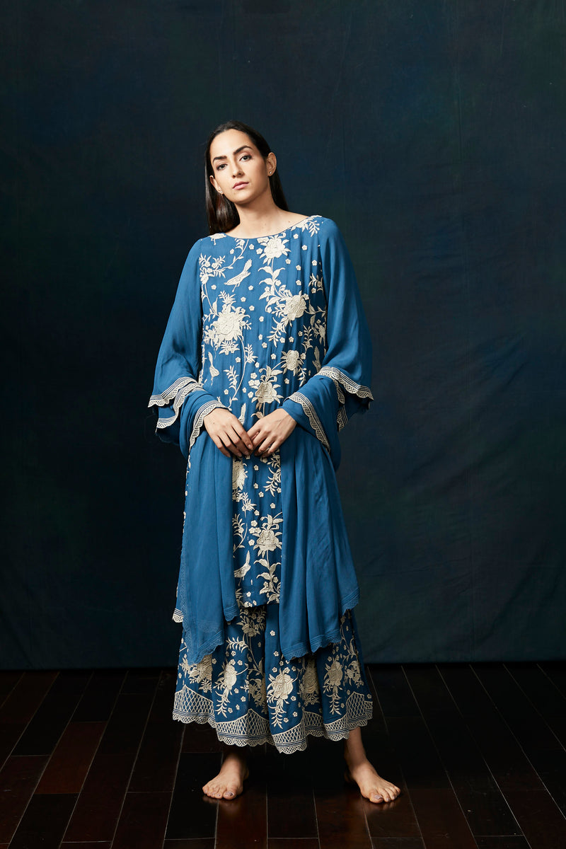 Cobalt blue thread work sharara suit