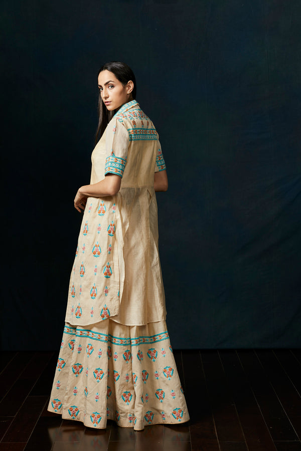 Blush beige chanderi  sharara suit
