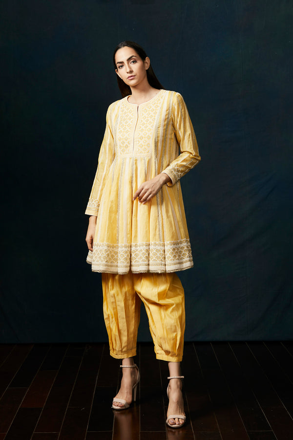 Yellow short anarkali with dhoti