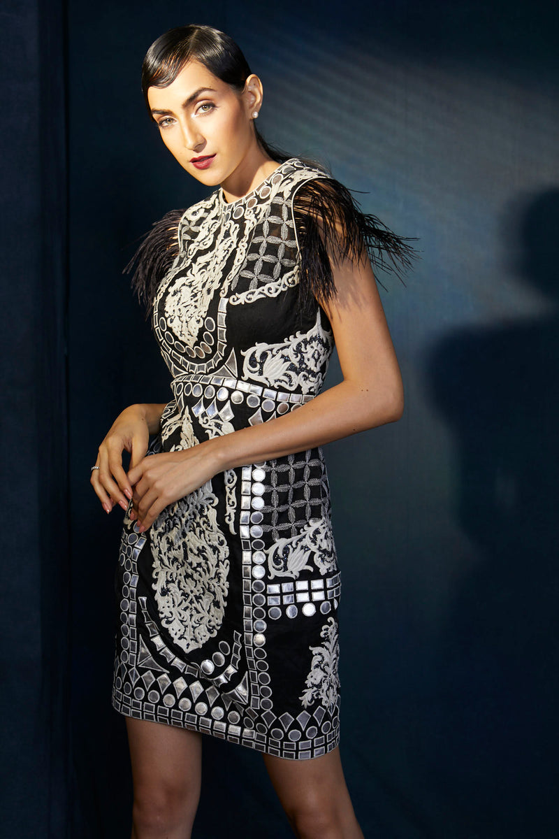 Black and silver short evening dress