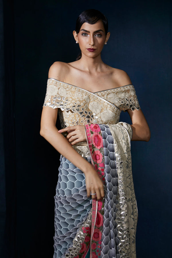 Digital print saree with embroidery and leather work