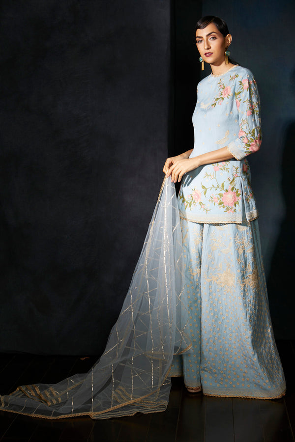 Powder blue kurta  sharara suit