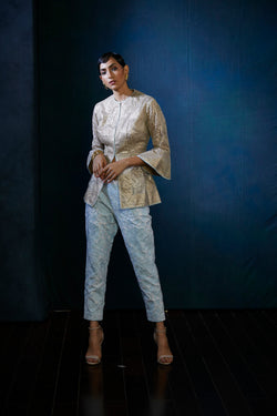 Gota Champagne jacket with blue embroidered pants