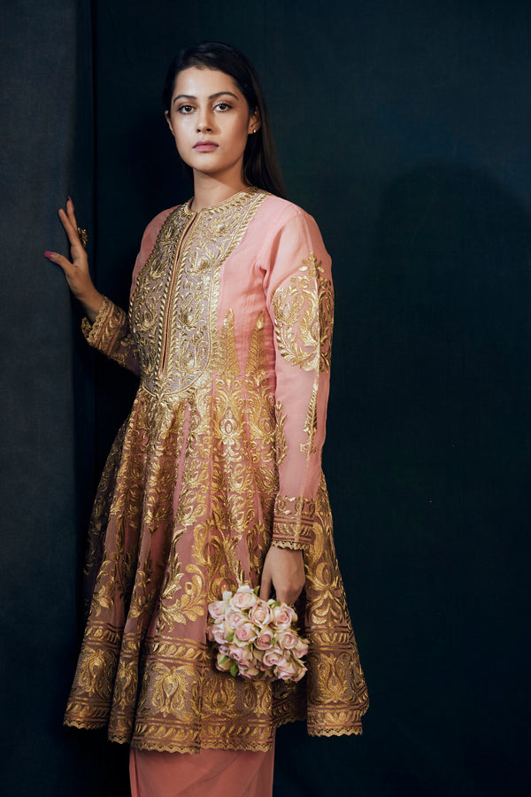 Peach organza short anarkali with dhoti