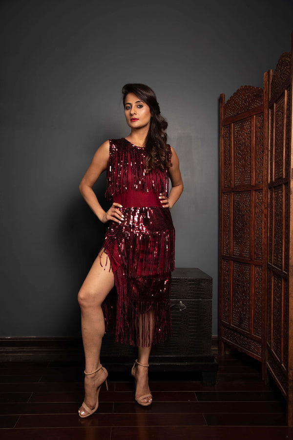 Deep Maroon Evening Dress