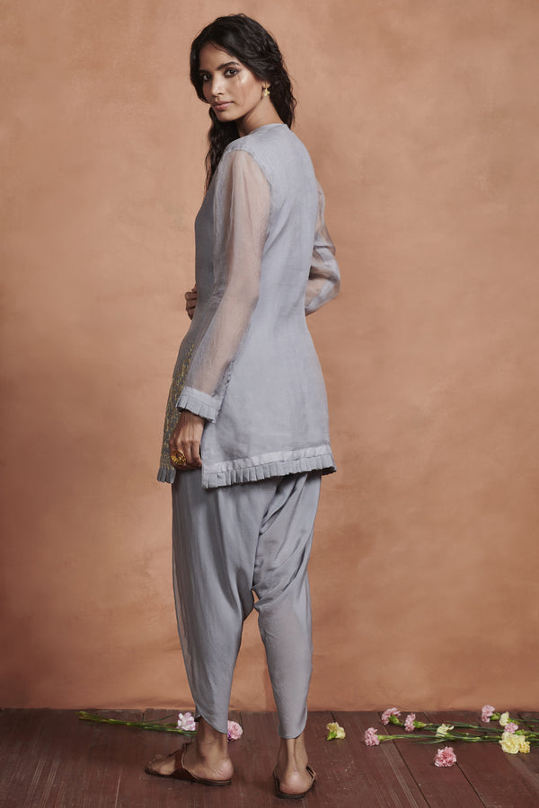 Iced Grey Embroidered Kurta Set