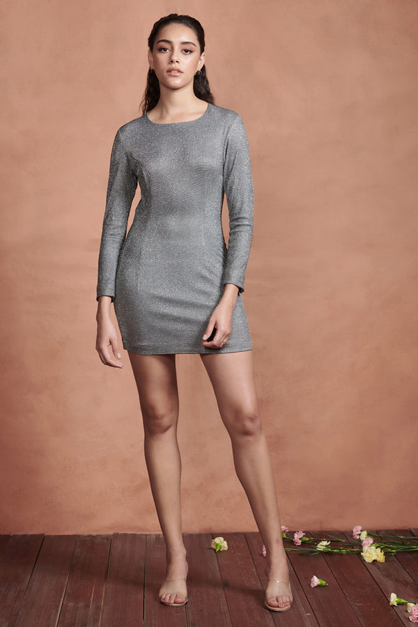 Metallic Silver Short Evening Dress