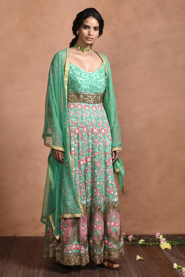 Jade Green Embroidered Anarkali Set