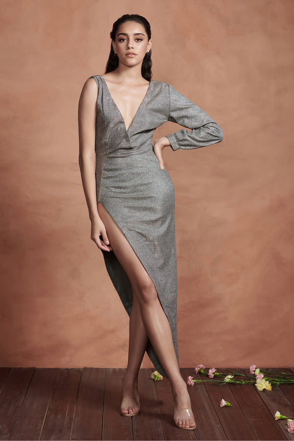 Metallic Silver Cocktail High Slit Dress
