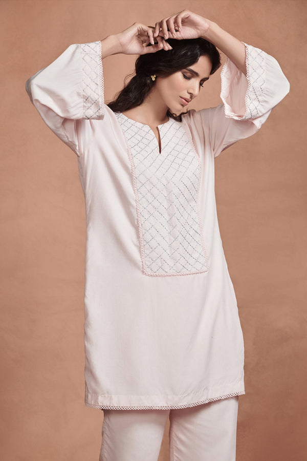 Blush Pink Embroidered Kurta Set
