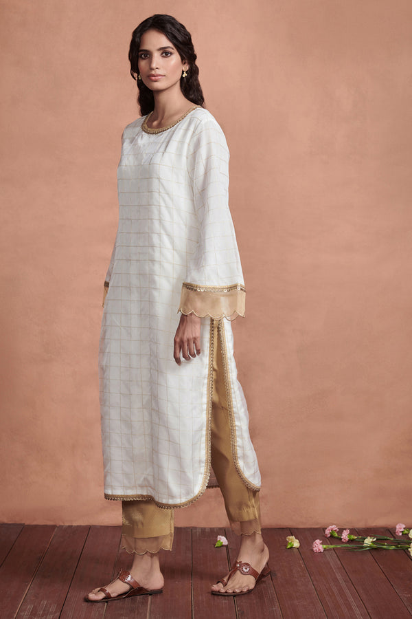 Ivory Long Kurta With Straight Pants