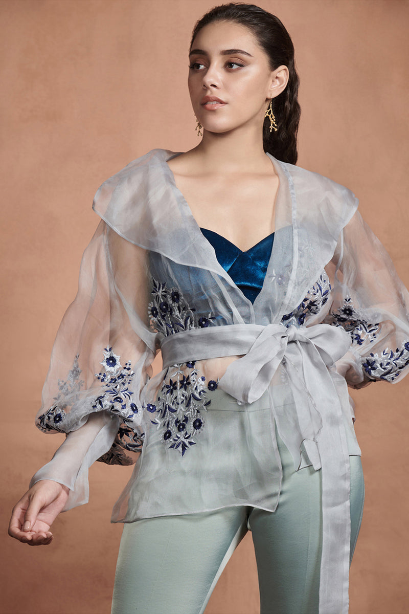 Iced Grey Embroidered Florals Wrap Top With Belt