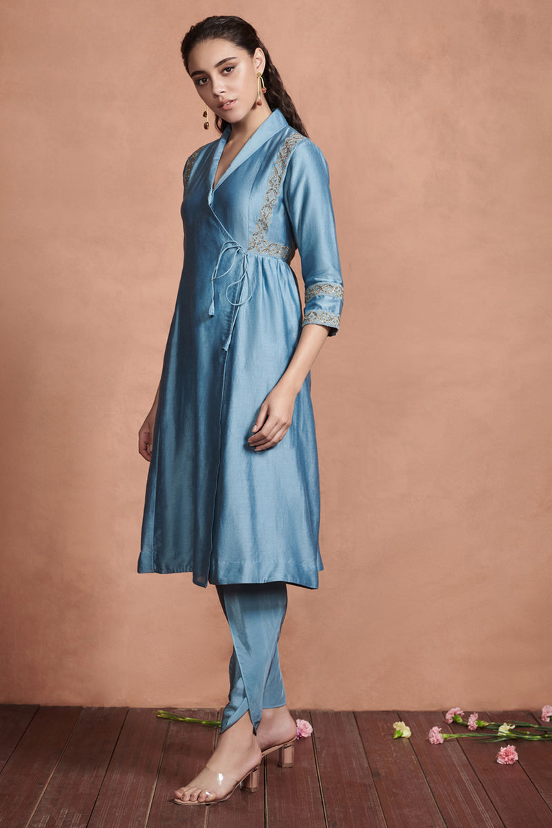 Light Teal Angrakha Kurta Set