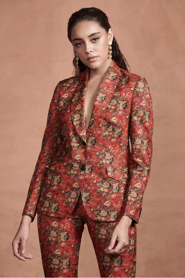 Crimson Red Printed Pant Suit