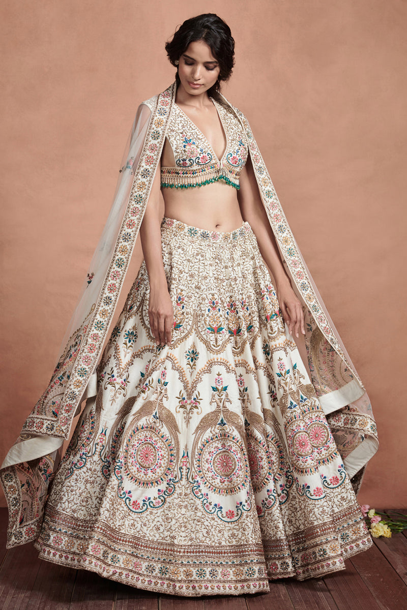 Ivory And Gold Embroidered Dupatta