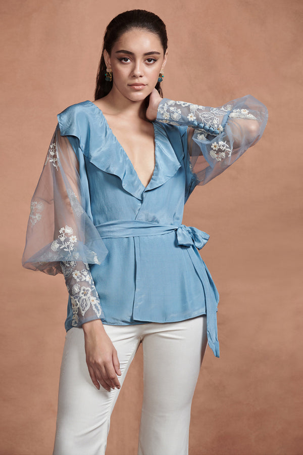 Carolina Blue Embroidery Florals Wrap Top With Belt