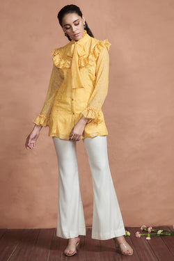 Dandelion Yellow Ruffle Detail Top