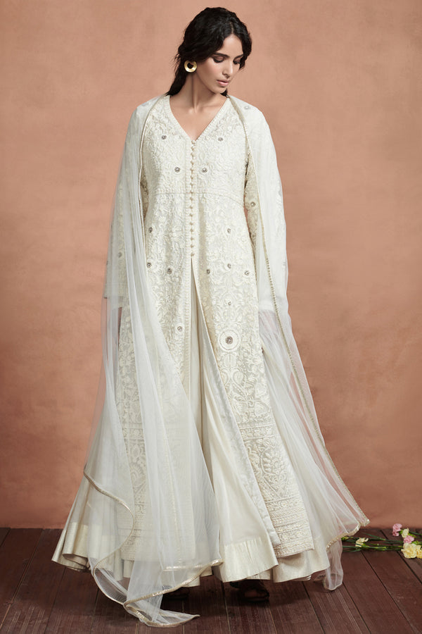 Ivory Embroidered Jacket Kurta Set