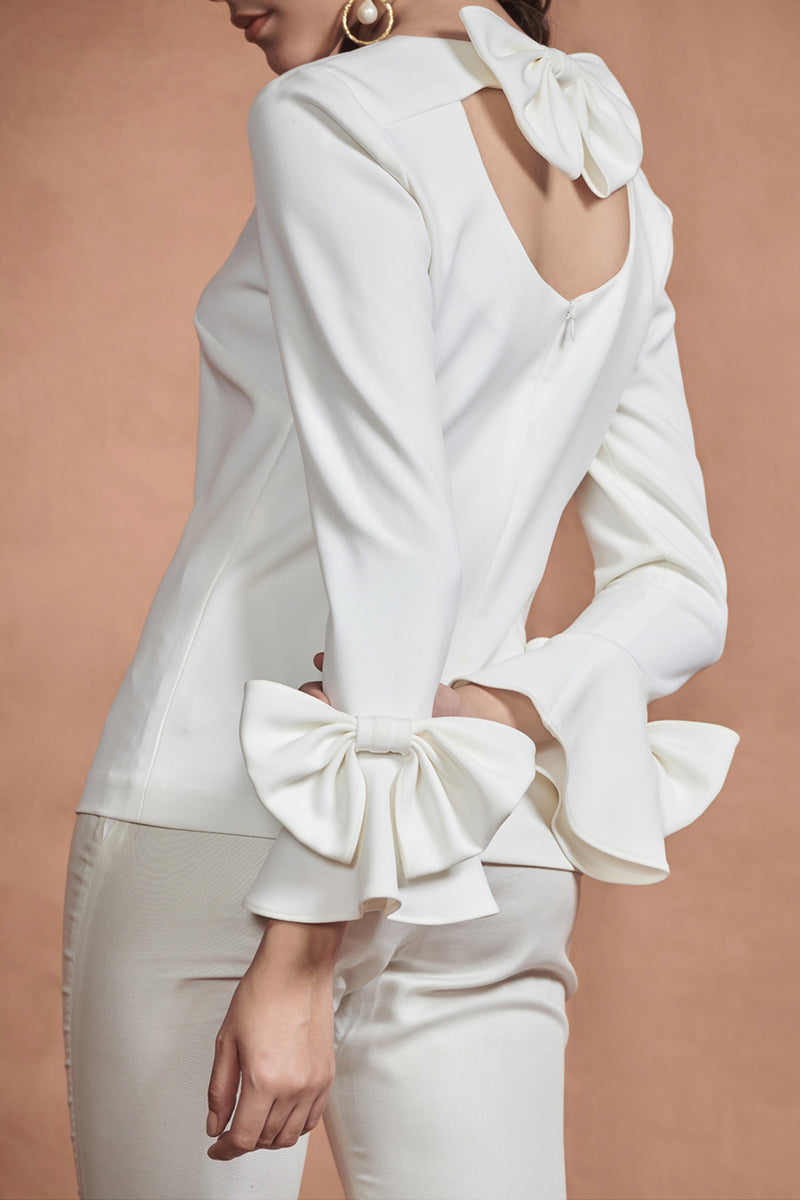 Off White Bow Top