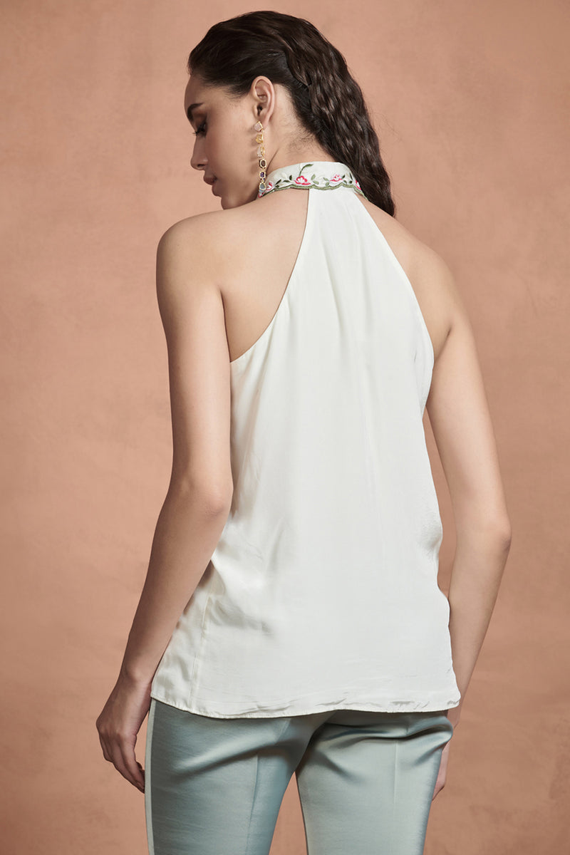 Pearl White Embroided Collar Top