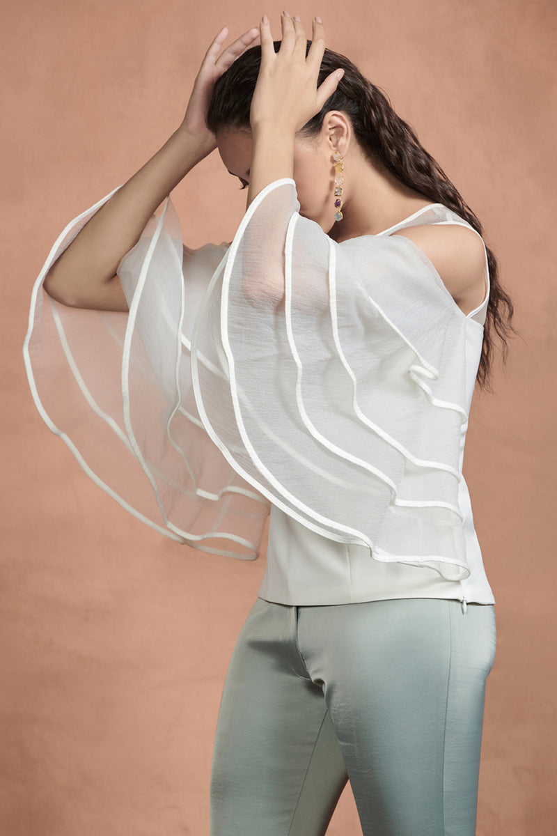 White Layered Sleeves Top