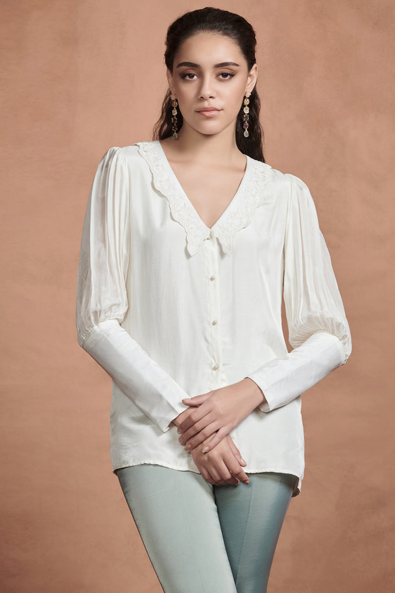 Pearl White Embroidery Details Shirt