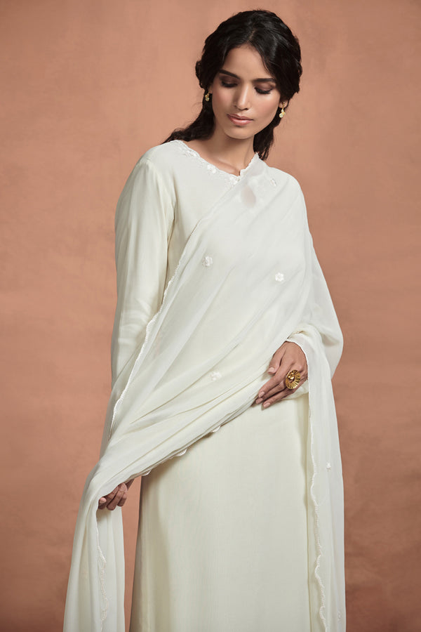 Pearl White Tone-on-tone Georgette Kurta Set