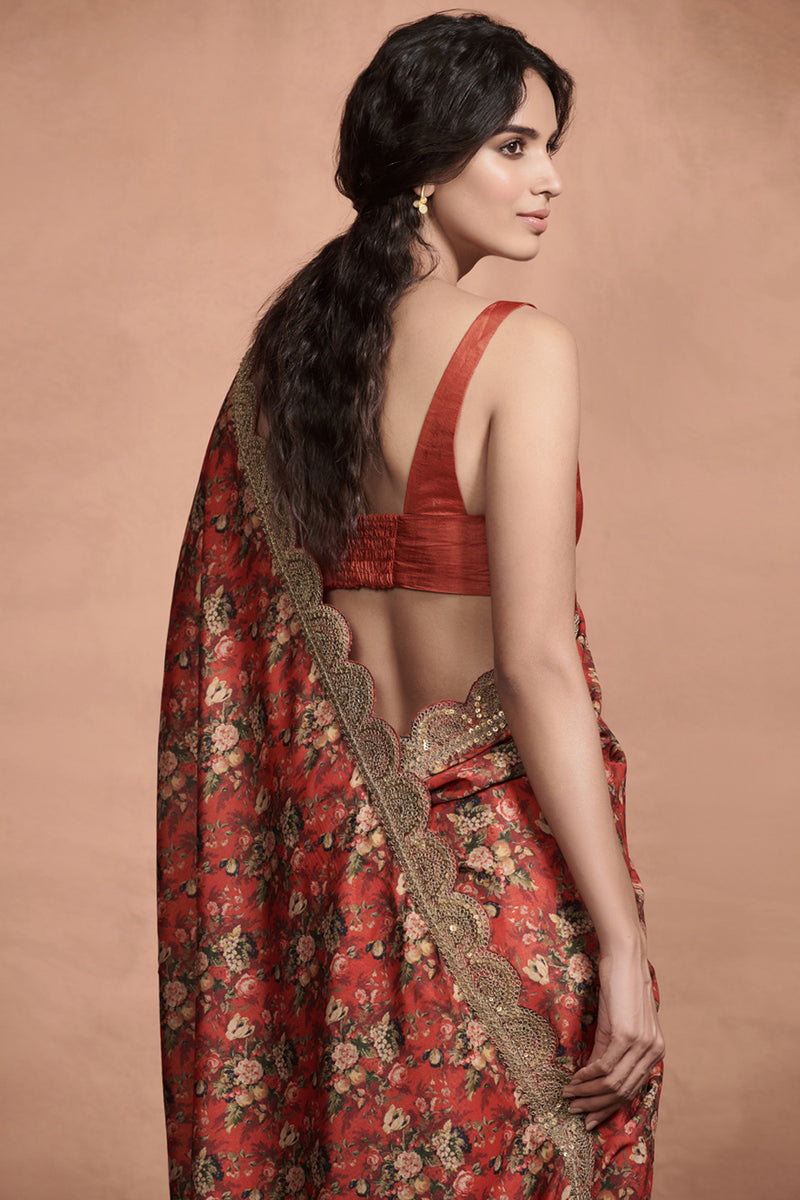 Crimson Red Marori Work Print Saree