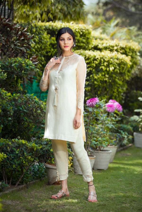 YELLOW SHORT KURTA SET