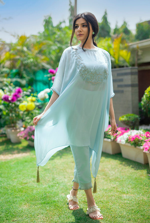 BLUE SHORT KAFTAN SET