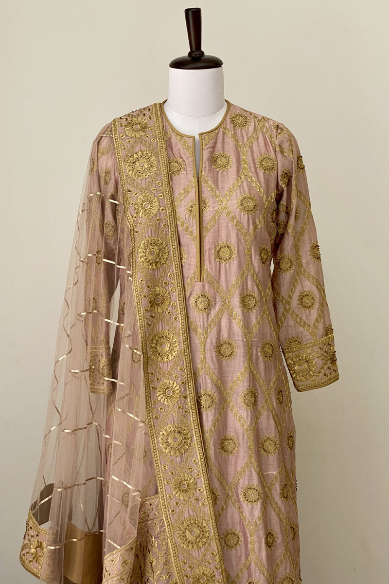 Salmon Pink Jaal Embroided Suit with Sharara and Dupatta
