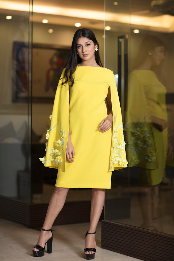 Lemon yellow cape sleeve long dress